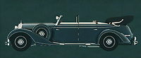 The 1938 Mercedes 770-K limousine was then the car preferred by world leaders. Ferdinand Porsche designed this Mercedes 770-K limousine before he founded his own brand and the leaders of Germany loved it. At the end of the Second World War it was used by American generals. The 1938 Mercedes 770-K limousine consists of several versions. With off-road tyres and even with the rear wheels replaced by tracks.<br /> <br /> This painting of a 1938 Mercedes 300 S Mercedes 770-K limousine can be printed very large on different materials. The work has a panoramic ratio and is very suitable to add a detail in a workspace, showroom or just at home that will impress your visitors. –<br /> <br /> BUY THIS PRINT AT<br /> <br /> FINE ART AMERICA<br /> ENGLISH<br /> https://janke.pixels.com/featured/the-1938-mercedes-770-k-limousine-was-the-ultimate-limousine-for-jan-keteleer.html<br /> <br /> WADM / OH MY PRINTS<br /> DUTCH / FRENCH / GERMAN<br /> https://www.werkaandemuur.nl/nl/shopwerk/Mercedes-770-K-Limousine-1938/606135/132<br /> <br /> -