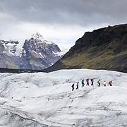 Glacier hiking on Svinafellsjokull glacier of Skaftafell, Iceland.