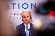 "Geert Wilders speaking during the press conference of the European anti-migrant parties ""Europe of Nations and Freedom"" (ENF) in Prague. Attending were Marie Le Pen from France, Geert Wilders from Holland and Tomio Okamura of the Freedom and Direct Democracy (SPD) movement from Czech Republic which was hosting the meeting. Prague, 16.12.2017"