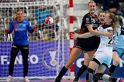 08-12-2019 JAP: Netherlands - Germany, Kumamoto<br /> First match Main Round Group1 at 24th IHF Women's Handball World Championship, Netherlands lost the first match against Germany with 23-25. / Kelly Dulfer #18 of Netherlands, Maren Weigel #22 of Germany
