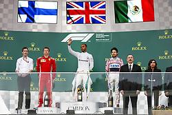 April 29, 2018 - Baku, Azerbaijan - Podium. HAMILTON Lewis (gbr), Mercedes AMG F1 Petronas GP W09 Hybrid EQ Power+, RAIKKONEN Kimi (fin), Scuderia Ferrari SF71H, PEREZ Sergio (mex), Force India F1 VJM11, and Azerbaijan president Ilham Aliyev during the 2018 Formula One World Championship, Grand Prix of Europe in Azerbaijan from April 26 to 29 in Baku - : World Championship; 2018; Grand Prix Azerbaijan, Grand Prix of Europe, Formula 1 2018  (Credit Image: © Hoch Zwei via ZUMA Wire)
