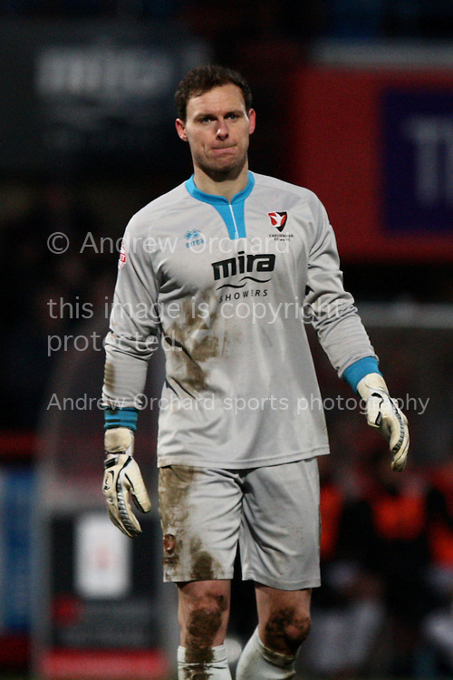goalkeeper Trevor Carson of Cheltenham Town looks on.<br /> Skybet football league two match, Cheltenham Town  v Newport County at The Abbey Business Stadium, Whaddon Road in Cheltenham, Glos on Sunday 28th December 2014.<br /> pic by Mark Hawkins, Andrew Orchard sports photography.