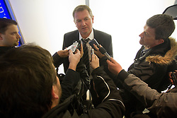 Head coach Matjaz Kek interviewed by journalists at arrival of Slovenia's National football team to Belfast, Northern Ireland for EURO 2012 Quaifications game between National teams of Slovenia and Northern Ireland, on March 28, 2011, at George Best Belfast City Airport, Northern Ireland, United Kingdom. (Photo by Vid Ponikvar / Sportida)