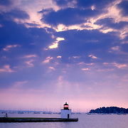Lighthouse on Derby Wharf at sunrise. Salem, Massachusetts