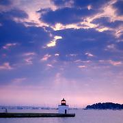 Lighthouse on Derby Wharf at sunrise. Salem, Massachusetts