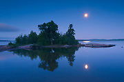 Moon over Lake Superior and Caron Island<br />