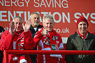 Ebbsfleet fans give the thumbs up for Paul McCarthy before the Vanarama National League South match between Ebbsfleet United and East Thurrock United at the Enclosed Ground, Whitehawk, United Kingdom on 4 March 2017. Photo by Jon Bromley.