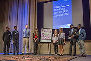 Purchase, NY – 31 October 2014. The team from Woodlands High School. (Left to right: Chrisopher Larrow, Miles Jackson, Kyle Smith, Kaltrina Celaj, Alex Jarmatz, Jillian Berridge, Akibo Watson, Awa Nymabi.) Woodlands High School went on to place second in the 2014 competition. The Business Skills Olympics was founded by the African American Men of Westchester, is sponsored and facilitated by Morgan Stanley, and is open to high school teams in Westchester County.