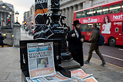 Copies of the London Evening Standard newspaper with the headline about Brexit Get us out of this No Deal Madness, on 24th January 2019, in London, England.