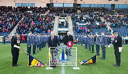 Before the action on the pitch, Falkirk's Chairman Doug Henderson and Alloa Athletic FC's chairman Mike Mulraney took time to pause and remember all those who had lost their lives in past wars as well as all those who lost their lives during the recent tragic events in Paris.<br /> Falkirk 5 v 0 Alloa Athletic, Scottish Championship game played at The Falkirk Stadium.