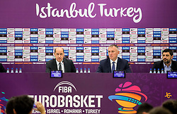Turgay Demirel, president of FIBA Europe, Kamil Novak, FIBA Executive director Europe and Omer Onan, CEO / Secretary General TBF during press conference of Organising committee before basketball match between National Teams of Russia and Spain at Day 18 in 3rd place match of the FIBA EuroBasket 2017 at Sinan Erdem Dome in Istanbul, Turkey on September 17, 2017. Photo by Vid Ponikvar / Sportida
