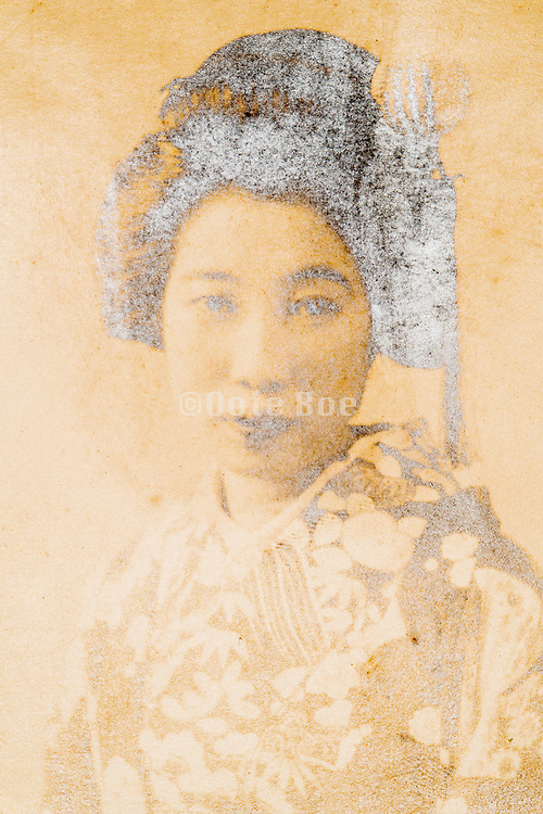 young adult woman portrait in trational hair dress and wearing kimono Japan 1930s