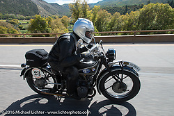 Norm Nelson riding his 1928 BMW during Stage 10 (278 miles) of the Motorcycle Cannonball Cross-Country Endurance Run, which on this day ran from Golden to Grand Junction, CO., USA. Monday, September 15, 2014.  Photography ©2014 Michael Lichter.