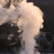 Old Faithful erupting. Yellowstone National Park.
