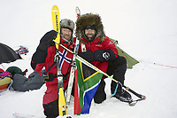 Ekspedisjoner<br /> Foto: Dppi/Digitalsport<br /> NORWAY ONLY<br /> <br /> ADVENTURE - MIKE HORN AND BORGE OUSLAND NORTH POLE WINTER EXPEDITION 2006 - ARCTIC ICE FIELD - 01/02/2006<br /> <br /> PHOTO : MIKE HORN / MIKEHORN.COM / DPPI<br /> <br /> MIKE HORN (RSA) AND BØRGE OUSLAND (NOR) BECOME THE FIRST MEN TO JOIN NORTH POLE COMPLETELY UNASSISTED IN ARCTIC WINTER AFTER WALKING 1000 KM IN 60 DAYS AND 5 HOURS - THEY LEFT CAPE ARTICHEVSKY 20/01/2006 AT 09:00 GMT AND REACHED NORTH POLE 23/03/2006 - MIKE HORN AND BORGE OUSLAND CELEBRATING