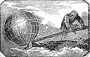 Archimedes (c287-212 BC) Ancient Greek mathematician and inventor, reputed to have said 'Give me a lever and I will move the Earth'. Woodcut  of Archimedes putting saying into action from title page of 'The Mechanic's Magazine' London, 1824