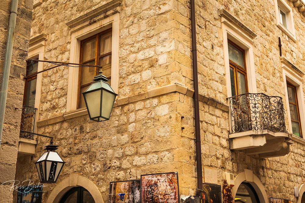 Street lamps on corner in old town Dubrovnik, Dalmatian Coast, Croatia