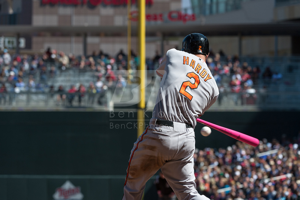 J.J. Hardy #2 of the Baltimore Orioles bats against the Minnesota Twins on May 12, 2013 at Target Field in Minneapolis, Minnesota.  The Orioles defeated the Twins 6 to 0.  Photo: Ben Krause