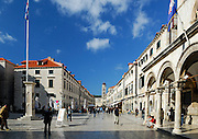 Stradun (Placa), main thoroughfare of Dubrovnik old town, Croatia