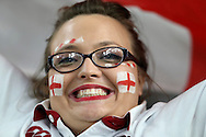 an England fan cheering on before k/o. Rugby World Cup 2015 pool A match, England v Australia at Twickenham Stadium in London, England  on Saturday 3rd October 2015.<br /> pic by  John Patrick Fletcher, Andrew Orchard sports photography.