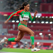 TOKYO, JAPAN August 1:   Silver medal winner Patricia Mamona of Portugal on the runway during the triple jump final in the Track and Field competition at the Olympic Stadium  at the Tokyo 2020 Summer Olympic Games on July 31, 2021 in Tokyo, Japan. (Photo by Tim Clayton/Corbis via Getty Images)