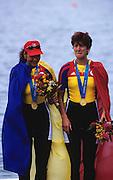 Sydney, AUSTRALIA, ROM W2- Gold medallist  DAMIAN Georgeta, IGNAT, Doina, on the medal podium, at the 2000 Olympic Regatta, Penrith Lakes. [Photo Peter Spurrier/Intersport Images] 2000 Olympic Rowing Regatta00085138.tif