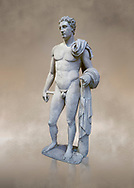 The 'Atalante Hermes' Roman marble statue found at Atalante. 2nd Cemt AD copy of the 4th cent BC Lysippean Greek style. Athens Archaeological Museum, cat no 240.<br /> <br /> Funserary statue of a youth depicted as Hermes. He is shown nude with his chlamys over his shoulder and wound around his right arm. In his left hand he holds a 'caduceus'. .<br /> <br /> If you prefer to buy from our ALAMY STOCK LIBRARY page at https://www.alamy.com/portfolio/paul-williams-funkystock/greco-roman-sculptures.html . Type -    Athens    - into LOWER SEARCH WITHIN GALLERY box - Refine search by adding a subject, place, background colour, etc.<br /> <br /> Visit our ROMAN WORLD PHOTO COLLECTIONS for more photos to download or buy as wall art prints https://funkystock.photoshelter.com/gallery-collection/The-Romans-Art-Artefacts-Antiquities-Historic-Sites-Pictures-Images/C0000r2uLJJo9_s0