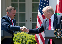 United States President Donald J. Trump and King Abdullah II of Jordan shake hands as they conduct a joint press conference in the Rose Garden of the White House in Washington, DC on Wednesday, April 5, 2017.<br /> Credit: Ron Sachs / CNP *** Please Use Credit from Credit Field ***