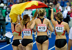 Germany celebrates  after they won third place in the women's 4x400 Metres Relay Heatsduring day eight of the 12th IAAF World Athletics Championships at the Olympic Stadium on August 22, 2009 in Berlin, Germany. (Photo by Vid Ponikvar / Sportida)