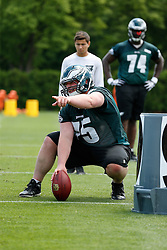 Philadelphia Eagles center Mackey Macpherson #75 during the NFL football rookie camp at the teams practice facility on Saturday, May 17, 2014. (Photo by Brian Garfinkel)