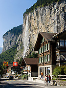 """Staubbach Falls (Staubbachfall) is the highest waterfall in Switzerland, plunging 1000 feet (300 meters) into Lauterbrunnen Valley in the Berner Oberland, the Alps, Europe. The Bernese Highlands are the upper part of Bern Canton. UNESCO lists """"Swiss Alps Jungfrau-Aletsch"""" as a World Heritage Area (2001, 2007)."""