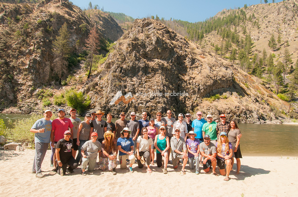 Group photo of the entire crew after a six day vacation and adventure on the Middle Fork of the Salmon River, Idaho.