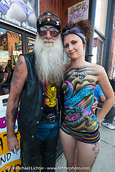 Gordon Sinner and Danny Stiles on Main Street during the annual Sturgis Black Hills Motorcycle Rally. SD, USA. August 9, 2014.  Photography ©2014 Michael Lichter.