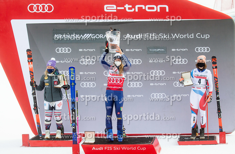 Second placed in overall classification of Golden Fox 2021 Michelle Gisin (SUI), winner Marta Bassino (ITA) and third placed Michelle Gisin (SUI)  celebrate at trophy ceremony during 2nd Run of Ladies' Giant Slalom at 57th Golden Fox event at Audi FIS Ski World Cup 2020/21, on January 17, 2021 in Podkoren, Kranjska Gora, Slovenia. Photo by Vid Ponikvar / Sportida