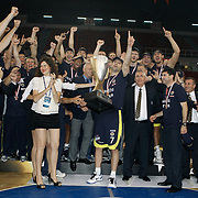 Fenerbahce players Omer ONAN (C) celebrate with the Turkish Beko Basketboll League championship trophy at the Abdi Ipekci Arena in Istanbul Turkey on Friday 17 June 2011. Fenerbahce Ulker wrapped up its fifth Turkish League championship and fourth in the last five years by holding on to edge Galatasaray CC 88-91 in Game 6 of the Turkish League finals on Friday in Istanbul. Photo by TURKPIX