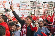 Crowds cheer Turkish president Recep Tayyip Erdogan at an AK Party rally in Izmir, Turkey.
