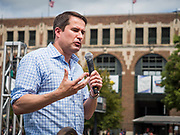 17 AUGUST 2019 - DES MOINES, IOWA: Representative SETH MOULTON (D-MA) speaks at the Des Moines Register Political Soapbox at the Iowa State Fair Saturday. Moulton, a US Marine veteran who served in Iraq, is running to be the Democratic candidate for the US Presidency in 2020 and spent Saturday campaigning at the fair. Iowa traditionally hosts the the first selection event of the presidential election cycle. The Iowa Caucuses will be on Feb. 3, 2020.          PHOTO BY JACK KURTZ