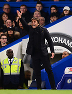 Antonio Conte, the manager of Chelsea shouts from the touchline .Premier league match, Chelsea v Manchester United at Stamford Bridge in London on Sunday 5th November 2017.<br /> pic by Andrew Orchard sports photography.