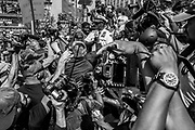 07192016 - Cleveland, Ohio, USA:  Calvin D. Williams, chief of the Cleveland Police Dept. personally breaks up a fight between Alex Jones and a group of protesters at Public Square on the second day of the 2016 Republican National Convention in downtown Cleveland, Ohio