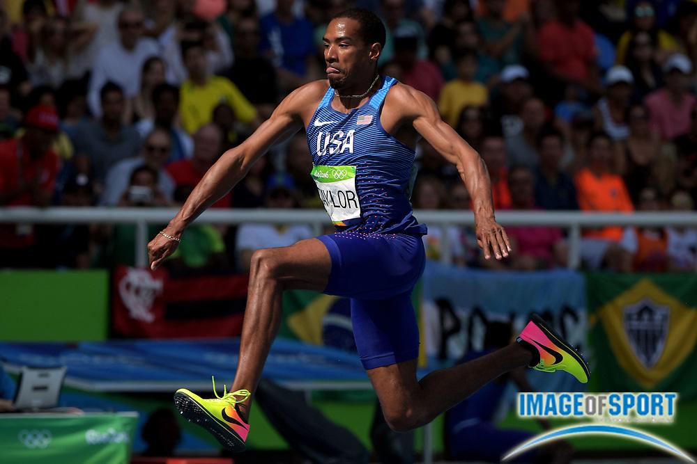 Aug 16, 2016; Rio de Janeiro, Brazil;  Christian Talyor (USA) during the men's triple jump final in the Rio 2016 Summer Olympic Games at Estadio Olimpico Joao Havelange.