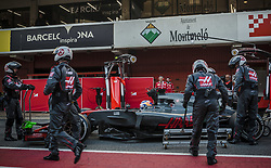 March 10, 2017 - Montmelo, Catalonia, Spain - The team of Haas changes the wheels of ROMAIN GROSJEAN (FRA) at the pit stop at day 8 of Formula One testing at Circuit de Catalunya (Credit Image: © Matthias Oesterle via ZUMA Wire)