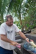 Steve Campbell cleaning and filleting mahi mahi fish caught aboard Reel Addiction, Ika Lahi Fishing Lodge, Vava'u, Kingdom of Tonga, South Pacific