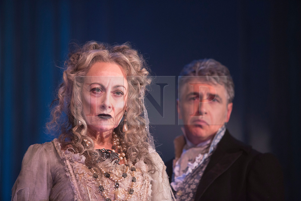"""© Licensed to London News Pictures. 04/02/2013. London, England. Paula Wilcox as Miss Havisham and Paul Nivison as Adult Pip. A new stage adaptation of Charles Dickens's """"Great Expecations"""" will open at the Vaudeville Theatre, London, on Wednesday, 6 February 2013. It is the first ever full-scale stage play of Great Expectations in either the West End or on Broadway. Adaptation by Jo Clifford, directed by Graham McLaren. Photo credit: Bettina Strenske/LNP"""