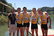 Lucerne, SWITZERLAND,  A Finals, GBR LM4-,right to left, coach Robin WILLIAMS,  Richard Chambers, James LINDSEY-FYNN, Paul MATTICK and james CLARKE Gold medallist,  at the 2007 FISA World Cup, Lucerne, on the Rotsee Lake, 15/07/2007  [Mandatory Credit Peter Spurrier/ Intersport Images] , Rowing Course, Lake Rottsee, Lucerne, SWITZERLAND.