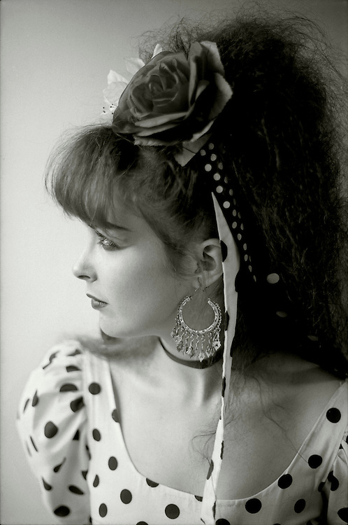 Jill Bryson of Strawberry Switchblade backstage in London. August 1984.