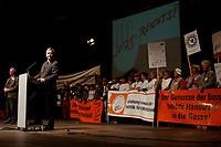 """10 FEB 2003, BERLIN/GERMANY:<br /> Wolfgang Clement, SPD, Bundeswirtschaftsminister, haelt eine Rede, waehrend der Abschlusskundgebung der Demonstration unter dem Motto """"Jetzt reicht´s - Das Handwerk gegen den Stillstand"""", links: Dieter Philipp, Praesident Zentralverband des Deutschen Handwerks, ZDH, Tempodrom<br /> IMAGE: 20030210-01-011<br /> KEYWORDS: Demo, Protest,"""