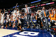 NASHVILLE,TN - MARCH 09, 2016 - The University of Tennessee Volunteer Basketball Team celebrates during the SEC Basketball Tournament game between the Auburn Tigers and the Tennessee Volunteers at Bridgestone Arena in Nashville, TN. Photo By Craig Bisacre/Tennessee Athletics