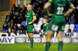 Shane Geraghty of London Irish has a word with his backline- Photo mandatory by-line: Patrick Khachfe/JMP - Mobile: 07966 386802 11/01/2015 - SPORT - RUGBY UNION - Reading - Madejski Stadium - London Irish v Exeter Chiefs - Aviva Premiership