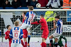 (L-R) Peet Bijen of FC Twente,  Daniel Hoegh of sc Heerenveen, Haris Vuckic of FC Twente 1-0 during the Dutch Eredivisie match between sc Heerenveen and FC Twente Enschede at Abe Lenstra Stadium on February 03, 2018 in Heerenveen, The Netherlands