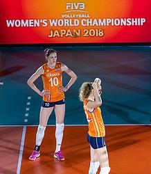 20-10-2018 JPN: Final World Championship Volleyball Women day 18, Yokohama<br /> China - Netherlands 3-0 / Lonneke Sloetjes #10 of Netherlands, Nicole Koolhaas #22 of Netherlands